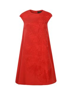 Beautiful red stretch silk is artfully embellished with ginkgo leaf embroidery and glass beading, creating an exquisite A-line dress that is perfect for special occasions. The qipao style neckline is highlighted by fine stitching – another luxurious touch.   Colour: Red Ref: 1TD12Q2