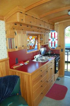 This 1959 Federal truck camper features stained glass windows! Cargo Trailers, Camper Trailers, Campers, Cargo Trailer Conversion, Bus Conversion, Vintage Rv, Der Bus, Gypsy Wagon, Truck Camper
