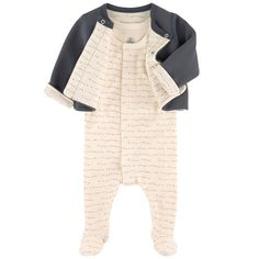 Petit Bateau 2 PC SET SLEEVELESS FOOTIE AND JACKET