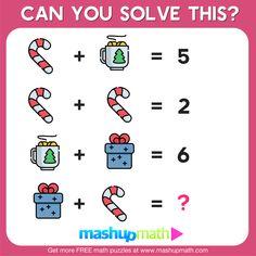 10 Free Christmas Math Activities for Your Kids — Mashup Math Christmas Math Worksheets, Kindergarten Math Worksheets, Maths Puzzles, Math Resources, Christmas Maths, Mind Puzzles, Math Games, Math Activities, Math Challenge