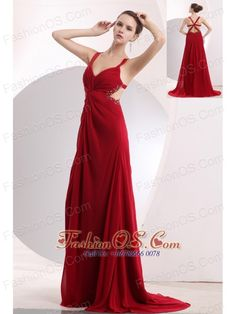 Sexy Wine Red Empire Straps Prom / Evening Dress Brush Train Chiffon Beading  http://www.fashionos.com  This breathtaking dress will make your day one to remember! Bold and sexy are the characteristic of this amazing prom dress. The straps and bust with a modified sweetheart overflow with shimmering beading. The deep v-neck ruches feature the flattering bodice. The special whirl design will earn you plenty of accolades.