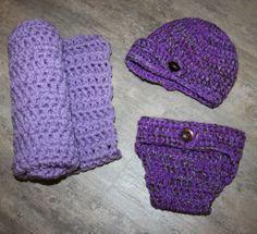 Crochet Newborn Baby Purple Blanket NewsBoy Hat & Diaper cover set photo prop