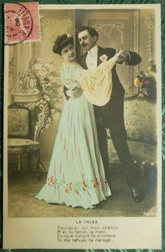 Couple Dancing LA Mazurka Poem Vintage Tinted