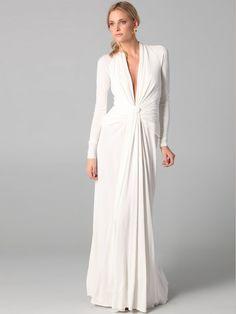 Lange Ärmel Abendkleid Weiß