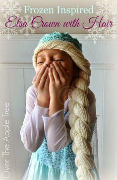 "Terrific Photos elsa Crochet Hat Concepts > Over The Apple Tree""> Crochet Elsa Crown With Hair, free pattern >> Over The Apple Tree Crochet Girls, Crochet For Kids, Crochet Baby, Knit Crochet, Frozen Crochet, Crochet Disney, Crochet Crown Pattern, Free Pattern, Yarn Wig"