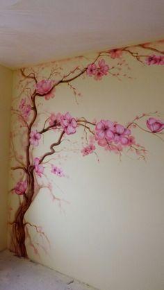 Description: A pint Sarolta Sarolta Tree Wall Painting, Tree Wall Murals, Mural Wall Art, Wall Art Decor, Wall Decals, Wall Paintings, Art Mural Floral, Floral Wall, Bedroom Murals