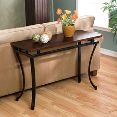 Cornell Expresso Sofa Table with Black Metal Legs (42' x 16' x 28') | Overstock.com