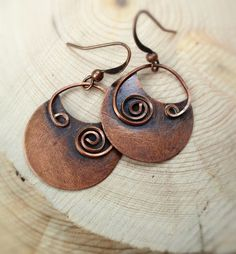 Copper Earrings Copper Jewelry Spiral Copper by Lammergeier, $32.00
