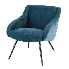 Joyce - Poltrona vintage in velluto blu e metallo