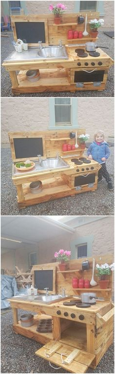 Having a mud kitchen in the house outdoor with the beautiful creation of wood pallet use in it will eventually give a nice impression to your house. Mud Kitchen is favorably used when you are cooking outdoor in your patio or garden areas. This wood pallet creative mud kitchen do offer with the unique giant structural designing framework of mud kitchen creation.