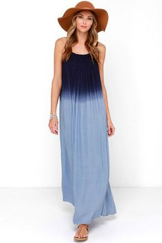 Like a star-filled night becoming day, the Bright Night Blue Dip-Dye Maxi Dress is full of possibilities! The uniquely pleated, straight-cut neckline is topped by adjustable spaghetti straps, all created by a navy to light blue dip-dyed, woven fabric. Wide-cut skirt flows to a breezy maxi length. Unlined. 100% Rayon. Hand Wash Cold. Imported.