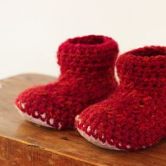 Crochet Slipper Boots with Sheepskin Sole (1 year old) | Homegrown KitchenHomegrown Kitchen