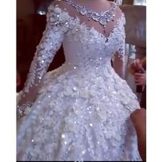 Luxury Crystal Beaded Puffy Ball Gown Wedding Dress by Pick a Product - PickAProduct Puffy Wedding Dresses, Crystal Wedding Dresses, Wedding Dress Organza, Dream Wedding Dresses, Bridal Dresses, Wedding Gowns, Lace Wedding, Dresses Dresses, Latest African Fashion Dresses
