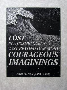 COSMIC OCEAN  woodcut  original relief print  by AmandaNicoleWhite, $100.00