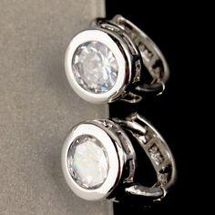 SAIRA G225: 9k Gold Filled White Sapphire Earrings, Lab created stones