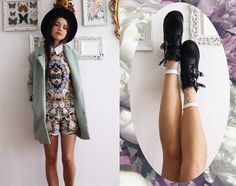 Patterned dress and warm coat