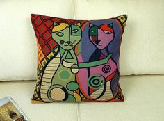Picasso Painting Cat 45cm 18'  Vintage Retro Rustic by CushionMax, $22.00