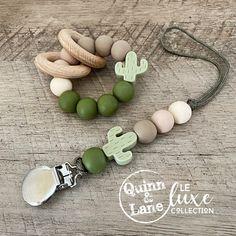 Teething Beads, Teething Toys, Handmade Baby, Diy Baby, Cactus, Beaded Lanyards, Wood Rings, Baby Crafts, Pacifier Clips