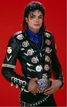 Michael Jackson Bad Era Military Style Leather Jacket