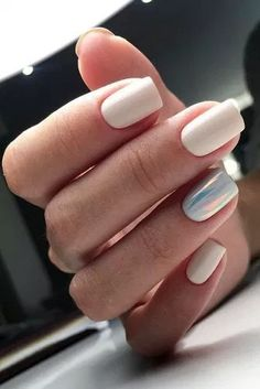 Trendy Square Nail Art Ideas For Short Acrylic These trendy Nail Designs ideas would gain you amazing compliments. Check out our gallery for more ideas these are trendy this year. White Acrylic Nails, Best Acrylic Nails, White Nails, Pink Nails, White Manicure, Girls Nails, Classy Nails, Trendy Nails, Hair And Nails