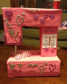 Valentine box   Sewing Machine    Addison's Valentines day box 2014