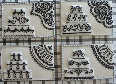 gorgeous!  Wedding card cookies in black and white