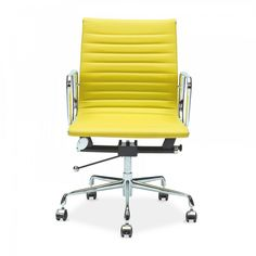 Charles Eames Style Yellow Short Back Ribbed Office Chair