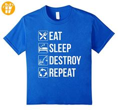 Funny Eat Sleep Destroy Repeat TShirt for Destroyers Kinder, Größe 128 Königsblau (*Partner-Link)