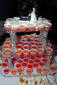 """If you know ANYTHING about me you know I love jello shots...what an idea to get the party starteddd! You could even make them in your wedding colors (if you like those flavors of course) - my BFF says I'd need 5 of these """"cakes""""...she's probably right"""