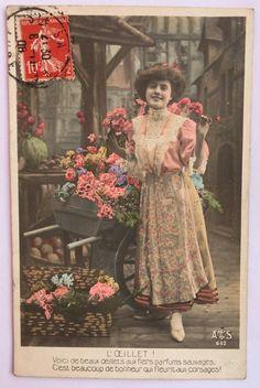 Frans ephemera van 1900 * dame op de bloemenmarkt