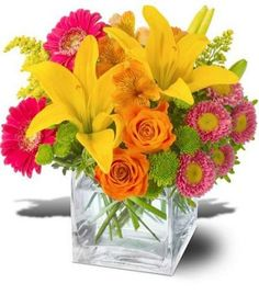 orange, hot pink, yellow, lily, roses, aster, button mums, glass, cube, centerpiece