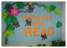 Bulletin Boards from Die Cut Shapes — Iowa Library Services / State Library Monkey Bulletin Boards, Christmas Bulletin Boards, Teacher Bulletin Boards, Reading Bulletin Boards, Winter Bulletin Boards, Library Bulletin Boards, Preschool Bulletin Boards, Bulletin Board Display, Preschool Door