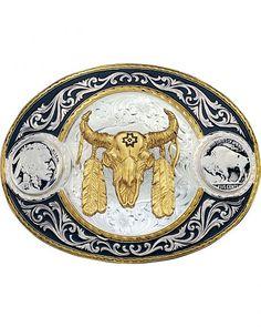 Montana Silversmiths Buffalo Nickel & Ceremonial Skull Western Belt Buckle