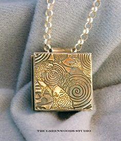 studio art jewelry | Koi Box Pendant: Fine silver pendant, 22 karat gold vermeil, Italian ...