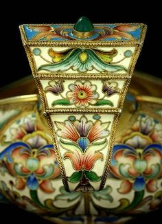 ANTIQUE SILVER & ENAMEL | Large Russian Cloisonne Kovsh