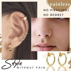 Want to rock the conch hoop without piercing your ear? Then our Stainless Steel Retractable Hoop is a dream come true for you. This hoop is cleverly designed with a retractable clasp, so you won't need any piercing to wear this sleek beauty on your ear, nose or lip. Snug Piercing, Cool Ear Piercings, Types Of Ear Piercings, Ear Jewelry, Cute Jewelry, Conch Hoop, Aesthetic Photography Grunge, Hand Work Blouse Design, Accesorios Casual