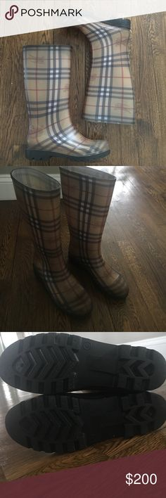 Burberry Rain boots Worn a couple of times in amazing conditions. Minor scuff (pictured) size says 38/5 on shoe but fits more of 7/7.5. I am an 8 and fits tight especially with socks. Smoke and pet free home. Burberry Shoes Winter & Rain Boots