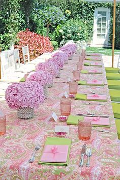 Hydrangeas Tablescape with Pink and Green Tablecloth – shared in a roundup post on Weddingomania