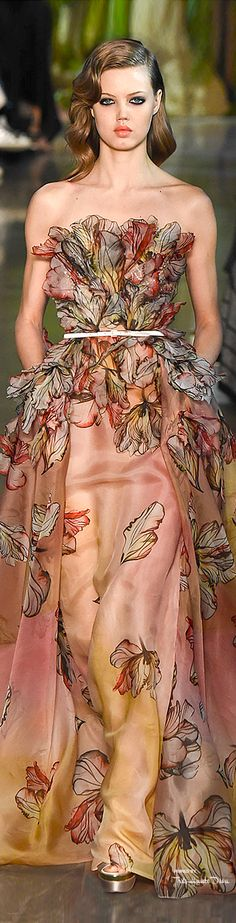 Elie Saab Spring 2015 Couture. Maybe not cry on this one because I don't love the colors, but what an absolutely stunning design!