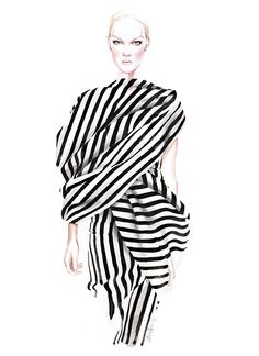 Fashion illustration of a model in a striped dress by Giambattista Valli // Antonio Soares