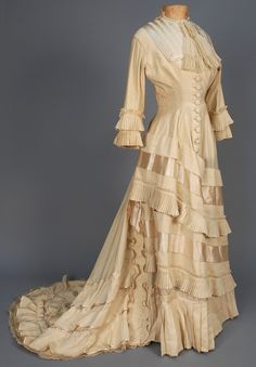 Wedding Dress, 1877, Made of wool, satin, and cotton