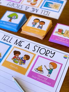 Tell Me A Story Pack - Help develop strong oral and written storytelling skills in your classroom with the help of this useful writing center Word Work Activities, Writing Activities, Activities For Kids, Preposition Activities, Vocabulary Activities, Preschool Worksheets, Literacy Stations, Literacy Centers, Writing Centers