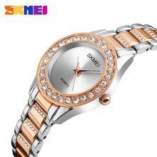 cc7e91f34 2017 SKMEI Brand Quartz Lady Watch Rhinestone Waterproof Women's Watch  Steel Luxury Wristwatch Relogio Feminino Montre