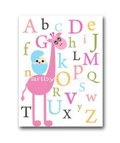 Giraffe Nursery Alphabet Nursery Digital file Children Art