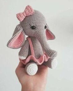 Amigurumi elephant pattern in pink suit. Do you like this design? For beginners,. - Amigurumi - Amigurumi elephant pattern in pink suit. Do you like this design? For beginners, you can find amigu - Amigurumi Elephant, Amigurumi Doll, Easy Knitting Projects, Crochet Projects, Crochet Patterns Amigurumi, Crochet Dolls, Crochet Elephant Pattern Free, Costume Rose, Pink Suit