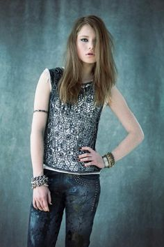Cecilia de Bucourt Grey Cut Out with Silver Beaded Top