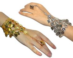 Belly Dance Gypsy Triangle Slave Bracelet With Coins