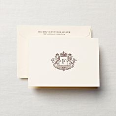 Letterpress Crest Monogram note cards from On Paper