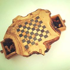 Olive wood rustic chess set / board with by tunisiahandmade, $49.00
