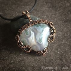 Horse Canyon Moss Agate wire wrapped in oxidized by CoparAingeal